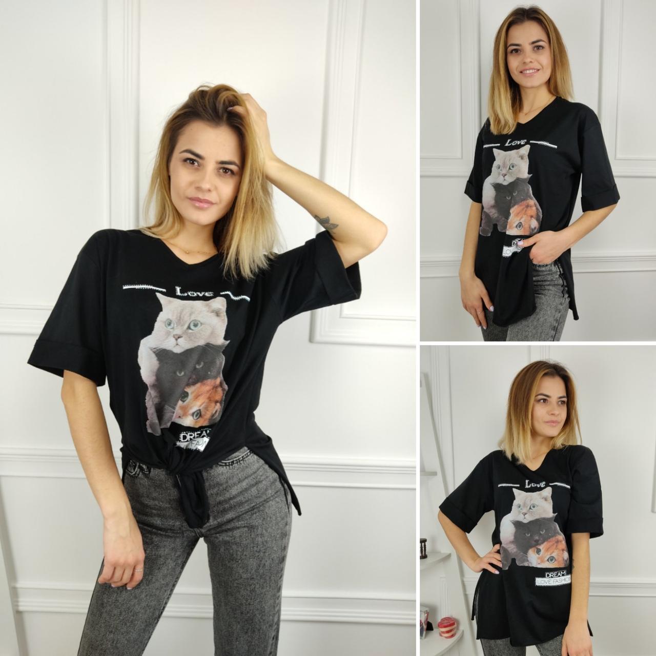 Жіноча футболка oversize, S,M,L (48-50-52) рр, коти, чорний