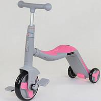 Самокат 3 в 1 серый с розовым велобег велосипед Best Scooter свет, 8 мелодий, колёса PU, переднее колесо d 20