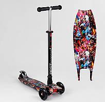 Самокат MAXI Best Scooter Мстители, 4 колеса PU, свет, трубка руля - алюминий, d колес 12 см