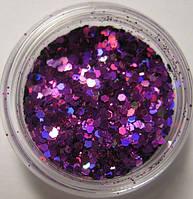 """Украшение для дизайна ногтей """"Брокард"""" цвет фиолетовый."""