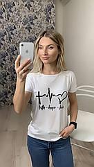 Женская футболка, 42-56рр, кардиограмма, белый