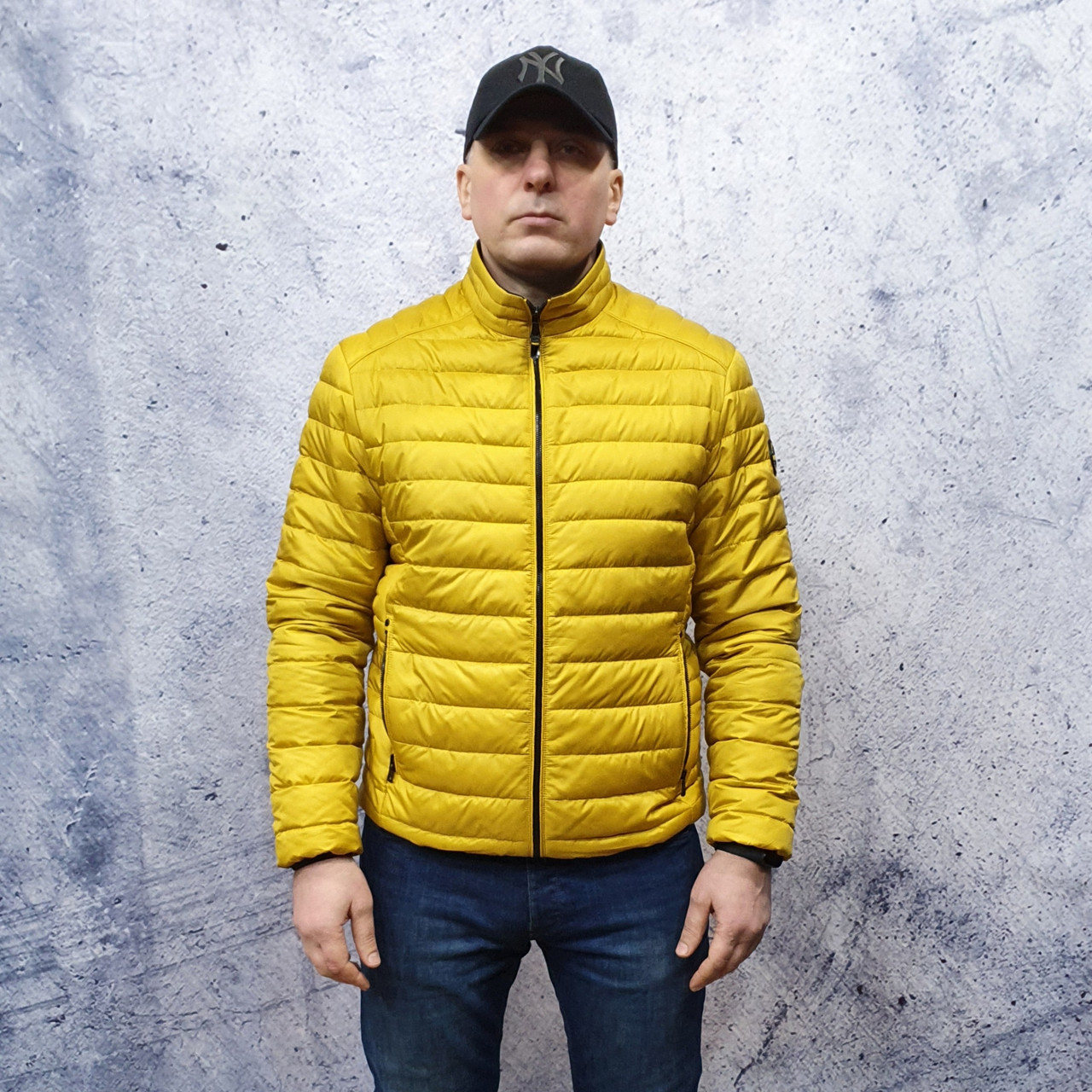 Чоловіча демісезонна куртка Vavalon kd-2009. Чоловіча стьобана куртка жовтого кольору.