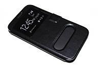 Кожаный чехол книжка для Samsung Galaxy J7 чёрный, фото 1