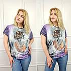 Женская футболка большого размера, 56-58, 60-62рр, силуэт, девушка, фото 2