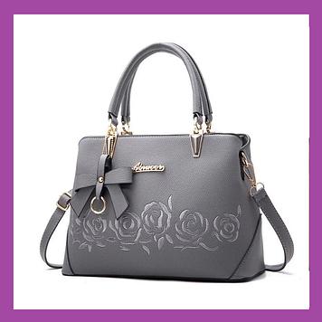 Стильная женская сумка с цветами эко кожа , Женские сумки новинки, B женская сумка серая, Красивые сумки