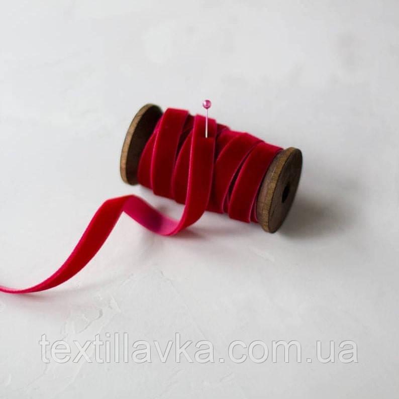 Бархатная лента 1см красная