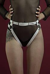 Білі шкіряні гартери-трусики Feral Feelings - Belt Briefs