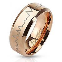 """Женское кольцо """"Ритм сердца"""" с позолотой от Spikes, р. 15.5, 16.5, 17.5, 18"""