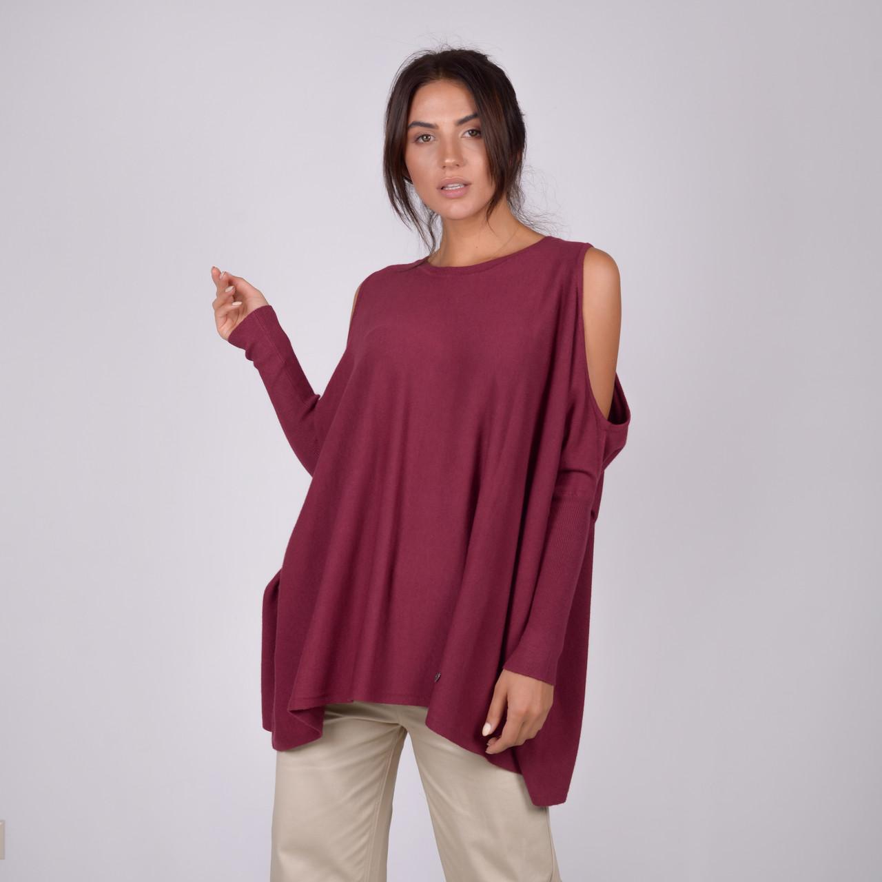 Трикотажна жіноча кофта з відкритими вільного крою в мікс кольорах в розмірах S/M, L/XL