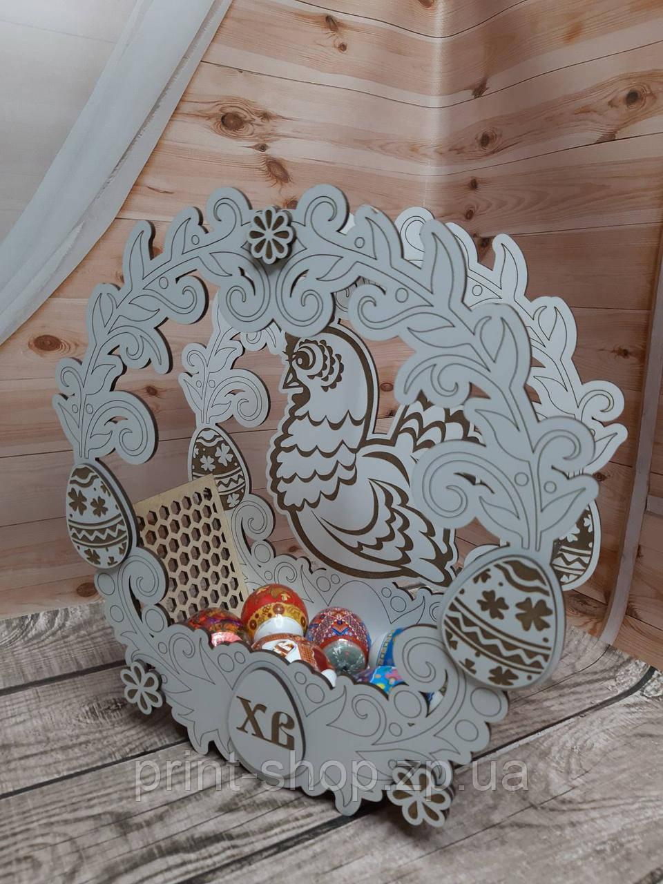 Пасхальная корзинка из дерева. Курочка пасхальная.