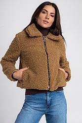 Жіноча коротка штучна шуба-куртка і кишенями в 2 кольорах в 4 розмірах