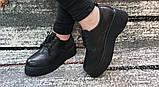 Жіночі чорні туфлі на шнурках на високій підошві., фото 3