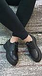 Женские черные туфли на шнурках на высокой подошве., фото 4