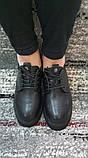 Женские черные туфли на шнурках на высокой подошве., фото 5