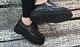 Женские черные туфли на шнурках на высокой подошве., фото 7