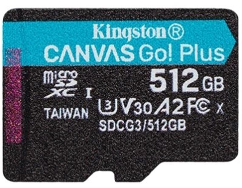 Картка пам'яті MicroSDXC 512GB UHS-I/U3 Class 10 Kingston Canvas Go! Plus R170/W90MB/s (SDCG3/512GBSP)
