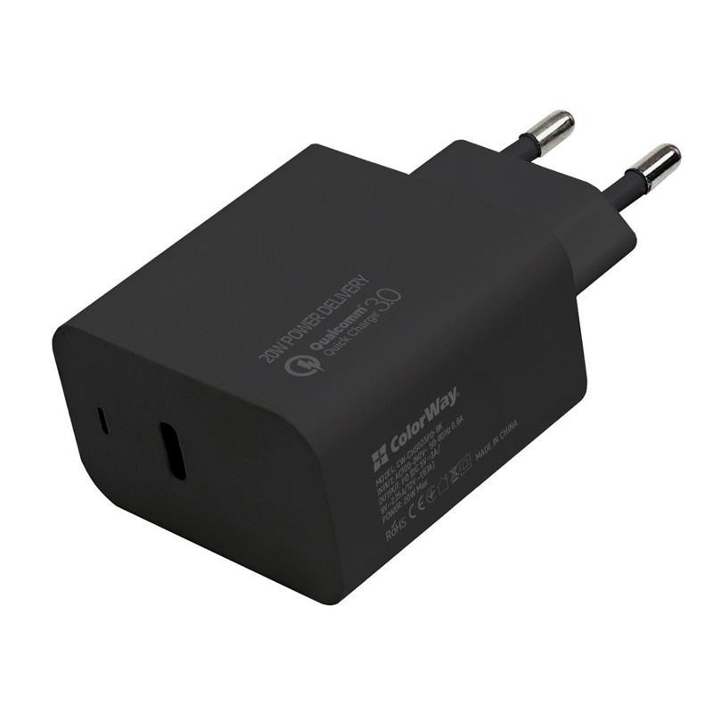 Сетевое зарядное устройство ColorWay (Type-C PD + USB QC3.0) Black (CW-CHS023PD-BK)