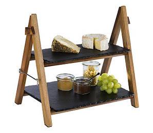 Подставка фуршетная с сланцевыми блюдами 26,5х36,5х34 см. деревянная APS