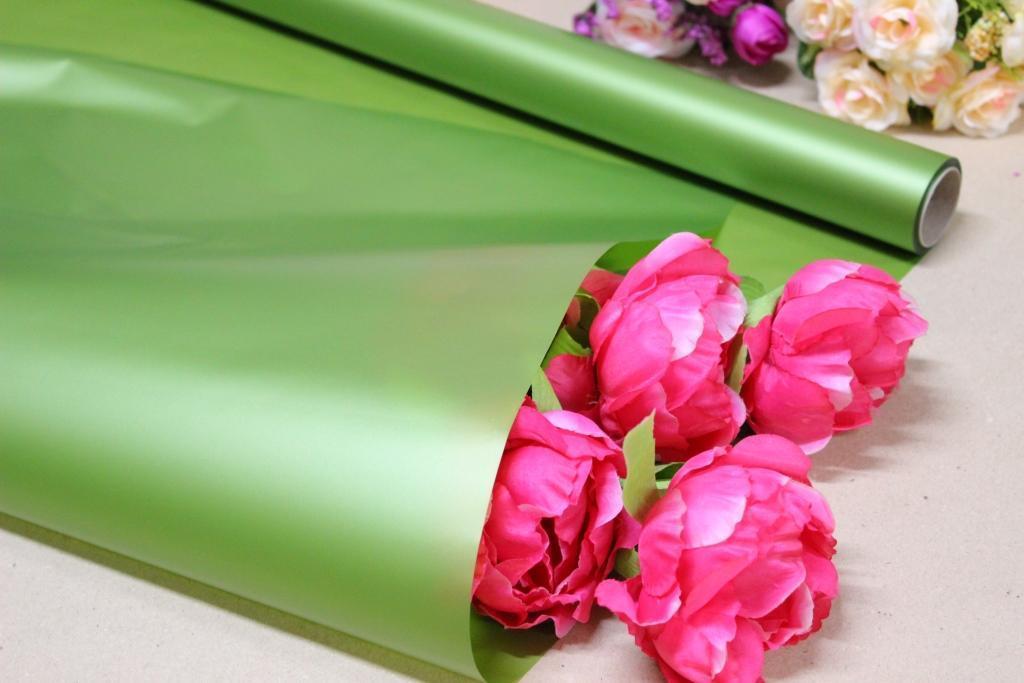 Калька для цветов - матовая флористическая пленка 70см*10м Оливковая