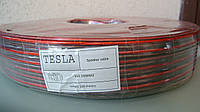 Акустический кабель Tesla биметалл red/black 2X1.5MM2 100M/ROLL прозрачный