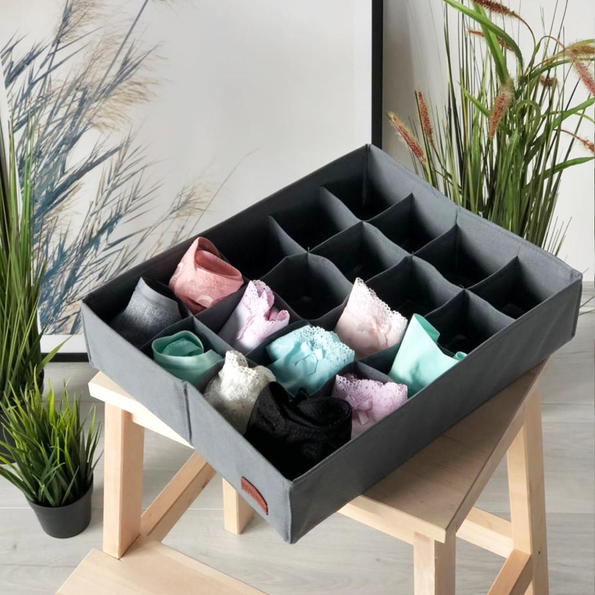 Органайзер для трусов и носков на 20 ячеек  (серый)