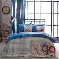 Постельное белье Tac ранфорс - Loft бежевый/голубой евро