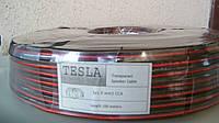Акустический кабель Tesla биметалл red/black 2X1.0MM2 100M/ROLL прозрачный