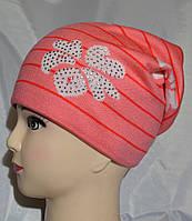 Детская вязаная шапочка на флисе, фото 1