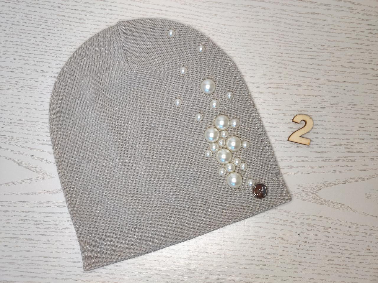 Шапочка для девочки люрекс камни демисезонная Размер 50-54 см Возраст 5-10 лет