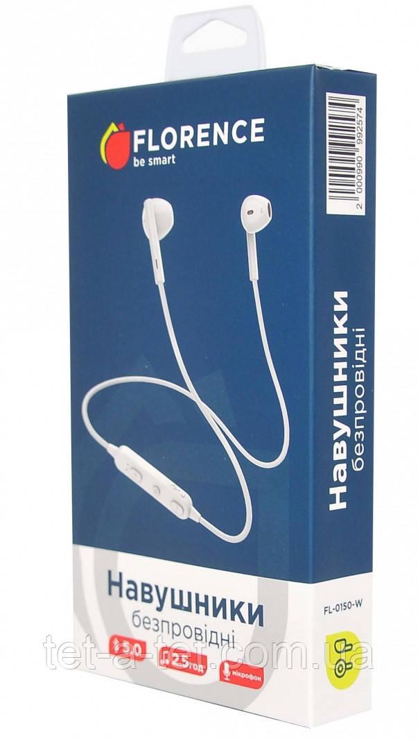 Бездротові Bluetooth-навушники FLORENCE FL-0150-K White