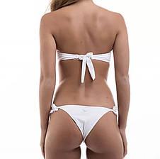 Купальник раздельный белый с рюшами на лифе и плавках, фото 3