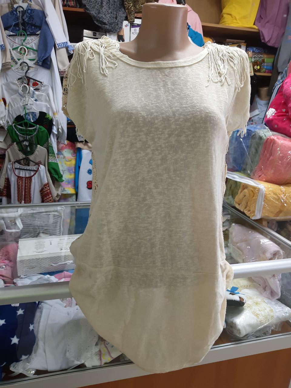 Жіноча літня футболка туніка р. 46 - 50