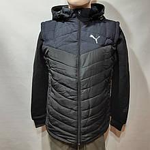 Чоловіча куртка весняні осінні трансформер жилетка демісезонна чорна
