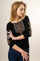Жіноча вишита футболка із рукавом 3/4 чорного кольору із коричневим геометричним орнаментом «Гуцулка», фото 1