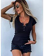 Женская стильная блузка с U-образным декольте на пуговицах, фото 1