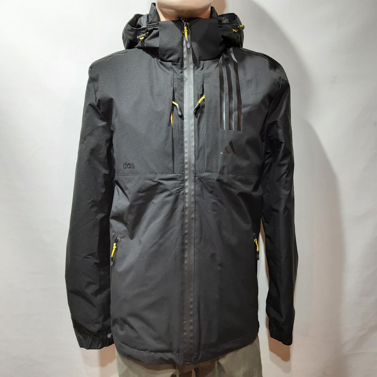 L,XXL р. Чоловіча куртка весняна Adidas Адідас репліка демісезонна чорна