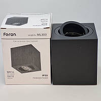 Feron ML303 GU10 накладной точечный потолочный светильник черный квадратный