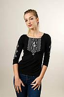 Стильна жіноча футболка з вишикою із рукавом 3/4 чорного кольору із сірим орнаментом «Гуцулка», фото 1