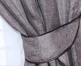 """Однотонная ткань """"Лён мешковина"""". Высота 2,8м. Цвет темный какао. 359ш"""