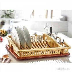 Сушка для посуды одноярусная Бежево-коричневая Dunya 07105