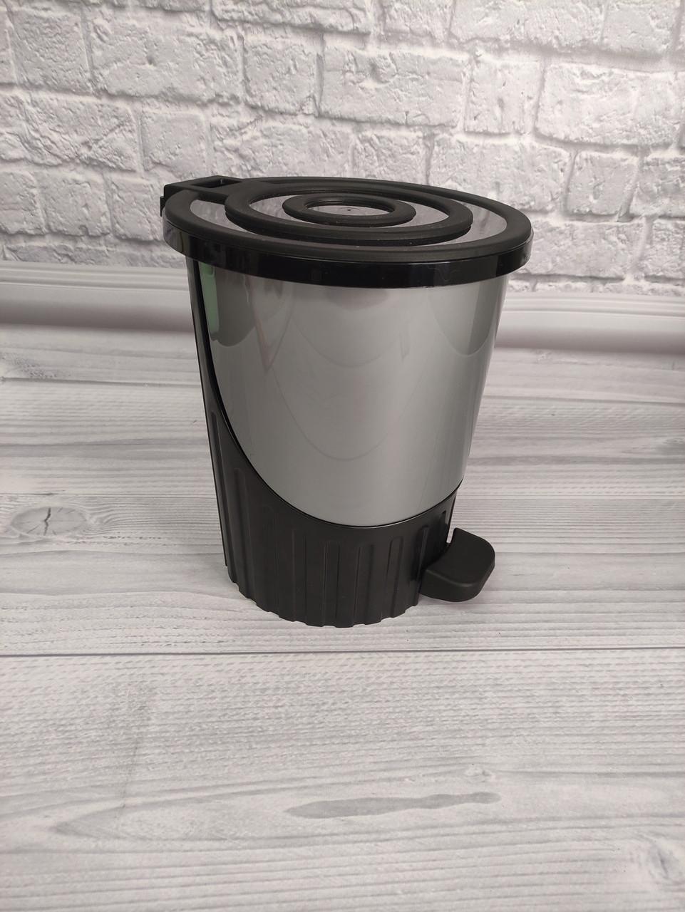 Ведро для мусора с педалью Dunya-01062 серое 8л