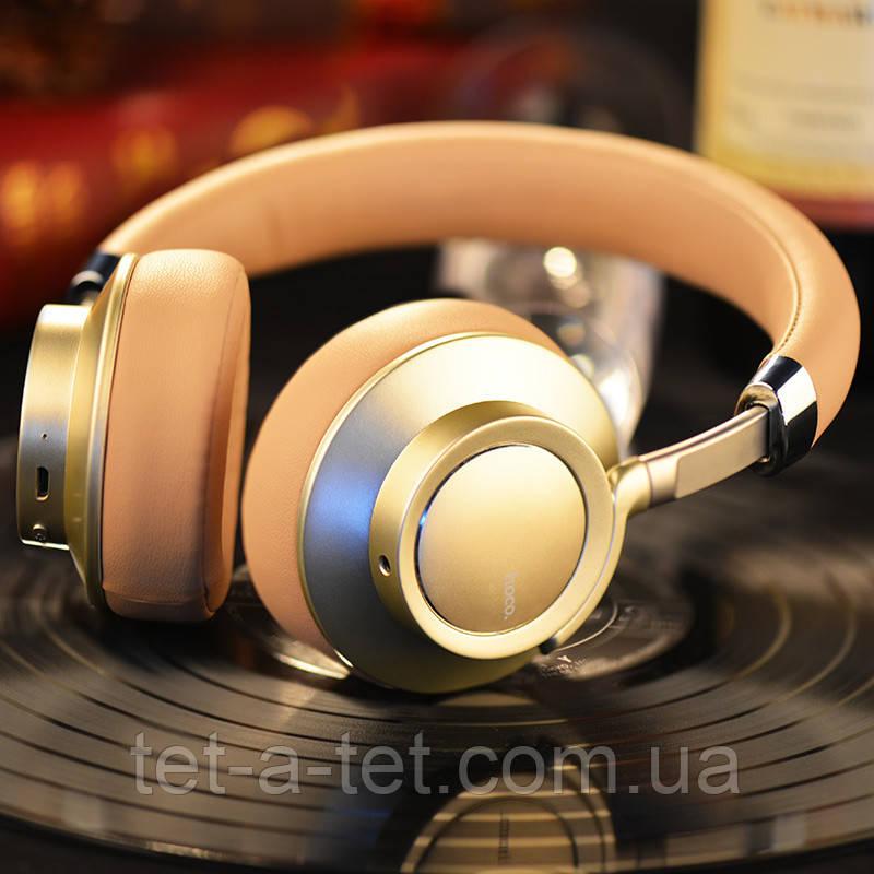 Беспроводные Bluetooth наушники Hoco W10 Cool Yin Wireless Headphone Brown\Gold