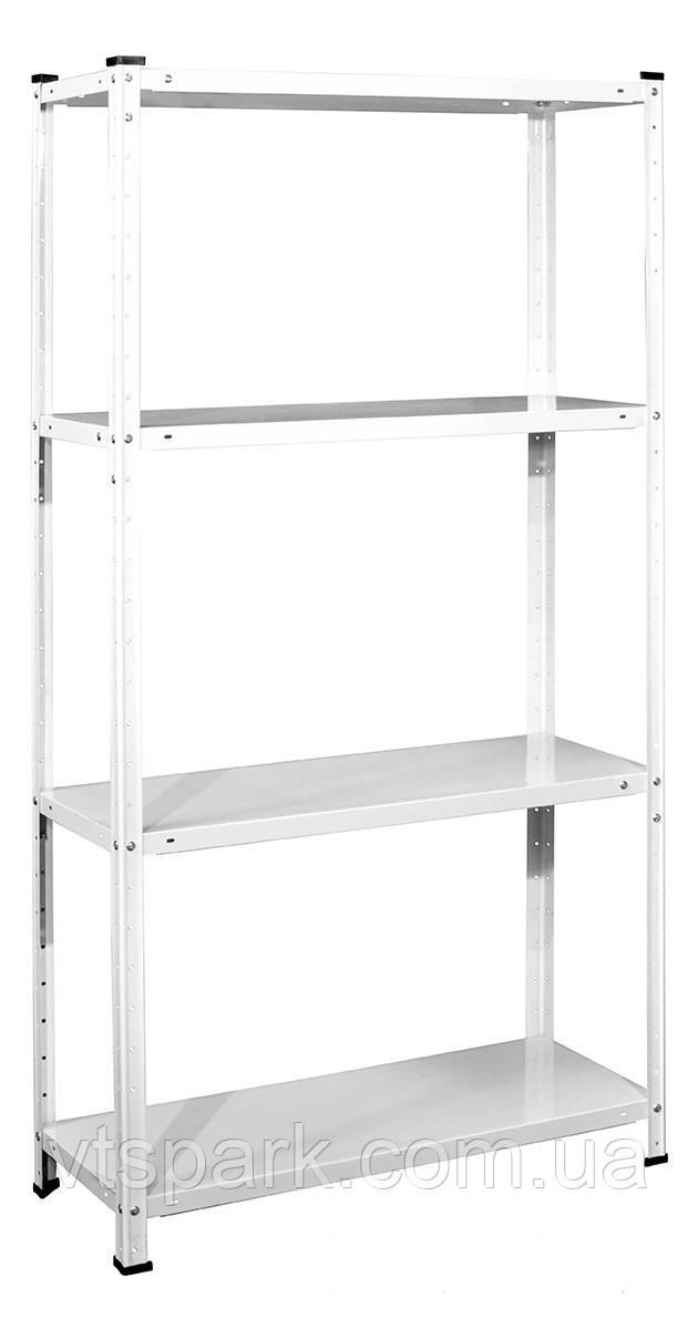 Стеллаж РЕК-1, белый 1500х750х300мм, 35кг, 4 полки, металлический, полочный для ванной, дома, офиса