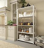 Стеллаж РЕК-1, белый 1500х750х300мм, 35кг, 4 полки, металлический, полочный для ванной, дома, офиса, фото 2