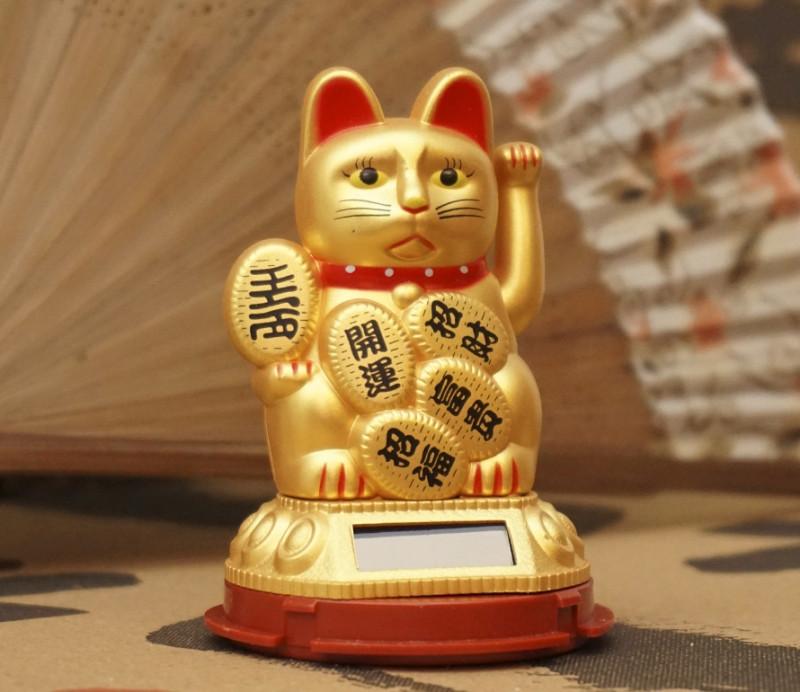 Щасливий кіт на сонячній батарейці Золотий №2