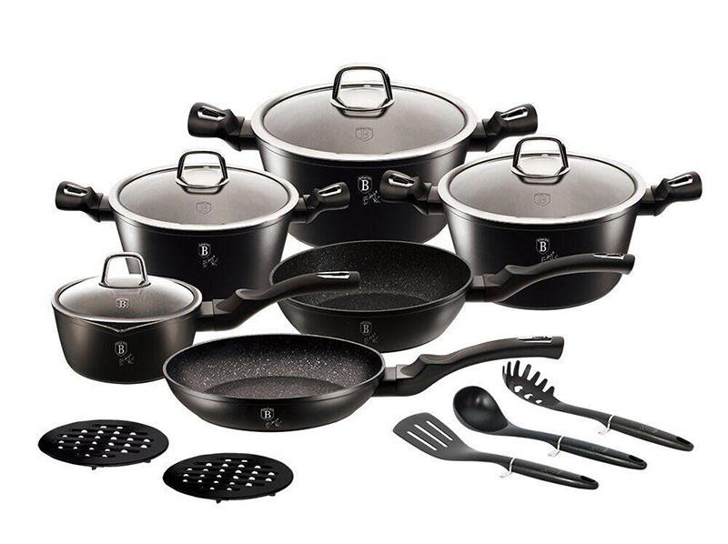 Чорна кухонний посуд Berlinger Haus BLACK SILVER 15пр