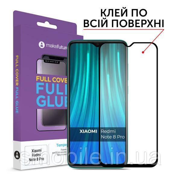 Защитное стекло MakeFuture для Xiaomi Redmi Note 8 Pro полноэкранное, черное