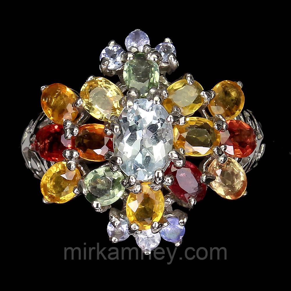 Кольцо натуральный Аквамарин (Санта-Мария) Сапфир (Африка). Размер 17.5 Серебро 925, покрытие золотом 14 карат