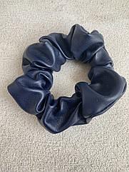 Жіноча резинка для волосся з еко-шкіри, об'ємна шкіряна резинка синяя, женская резинка кожаная