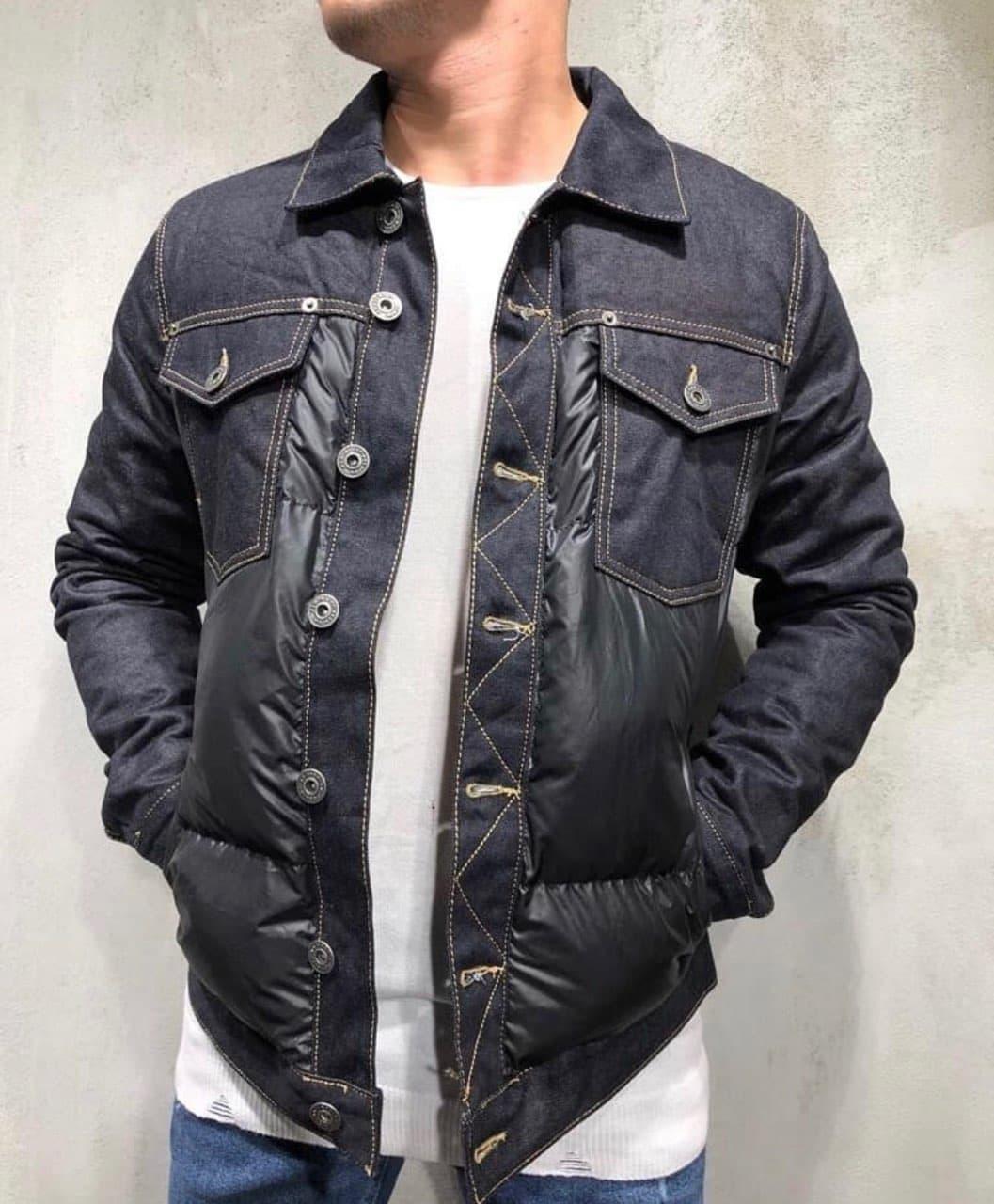 Чоловіча джинсова куртка утеплена на синтепоні чорна   Стильна тепла джинсовці осінь весна